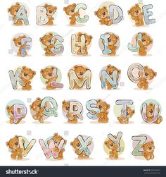 Buy English Alphabet with Teddy Bears by vectorpocket on GraphicRiver. Set of vector letters of the English, the Latin alphabet are in the clutches of funny teddy bear. English Alphabets With Pictures, Alphabet Pictures, Cartoon Clouds, Bear Graphic, Picture Letters, Alphabet Art, Cute Teddy Bears, Tatty Teddy, Letter Set