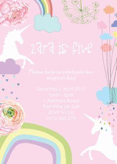 Unicorn Invitation. Unicorn Birthday by LittleZeePrintables