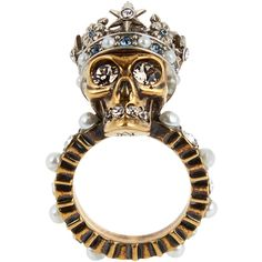 Alexander McQueen Queen skull crystal and pearl-embellished ring ($255) ❤ liked on Polyvore featuring jewelry, rings, gold, white pearl ring, crystal skull jewelry, crystal crown, clear crystal jewelry and skull jewelry