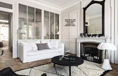 The elegance of this French apartment is perfectly presented in design of its interior, which was done by people from Maison Hand. French Apartment, White Apartment, Interior Windows, Apartment Interior Design, Design Scandinavian, Gravity Home, Classic Living Room, Farmhouse Remodel, French Home Decor