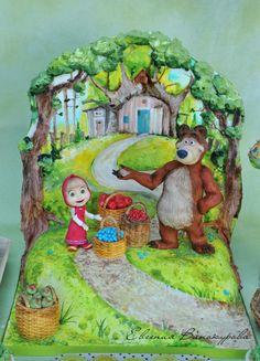 Cake based on the cartoon Masha and the bear) Character Cakes, Kid Character, Fondant, Masha And The Bear, Sculpted Cakes, Painted Cakes, Disney Cakes, Bear Cakes, Sugar Art