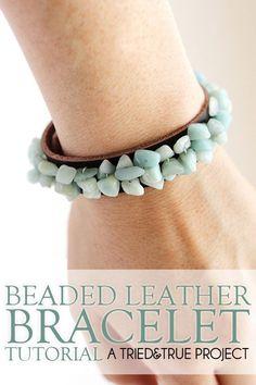 Beaded Leather Bracelet | DIY Beaded Bracelets You Bead Crafts Lovers Should Be Making