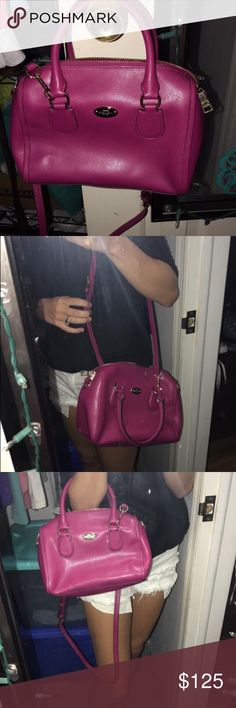 2014 coach purse Hot pink coach purse. Medium size. Hana's detachable long body strap. In great condition, never used. Coach Bags Crossbody Bags