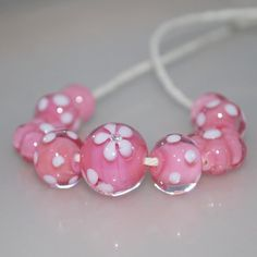 lampwork beads in salmon pink