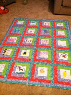 memory blanket with drawings...good way to remember Lilly's artwork...