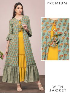 Solid Tier Maxi Attached with Sequins & Floral Printed Jacket – Submarine Green Stylish Kurtis Design, Stylish Dress Designs, Designs For Dresses, Stylish Dresses, Latest Dress Design, Long Dress Design, Simple Kurta Designs, Kurta Designs Women, Indian Fashion Dresses