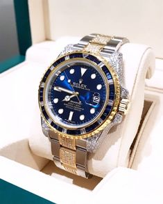 with their signature custom Rolex Submariner Two Tone How do you li. Army Watches, Cool Watches, Rolex Watches, Bugatti, Lamborghini, Ferrari, Watches Photography, Rolex Submariner, Luxury Yachts