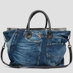 c7ac4e50ee Borsa in pelle e recycle denim - Replay Denim Purse, Clutch Purse, Denim  Jeans