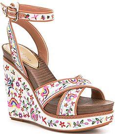 Gianni Bini Lusia Embroidered Wedges #Dillards