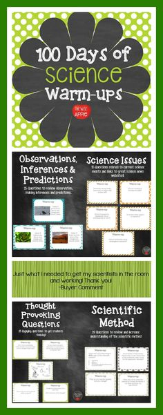 100 Days of General Science Warm-ups, Journal, Bell Work - David Teague 7th Grade Science, Middle School Science, Elementary Science, Science Education, Physical Science, Science Inquiry, Forensic Science, Environmental Science, Elementary Education