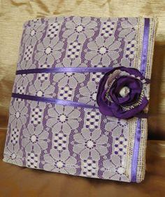 Purple Lace Rustic Wedding Guest Book Flower by PurpleBirdShop