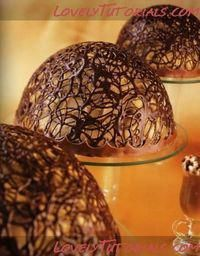 Chocolate lace bowls by Chocolate Work, Chocolate Bowls, Chocolate Drizzle, Chocolate Recipes, Chocolate Balloon Bowl, Chocolate Basket, Decoration Patisserie, Food Decoration, Just Desserts