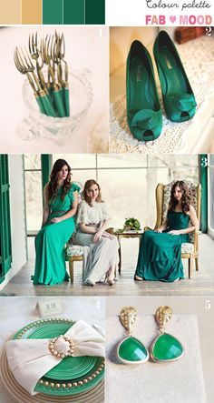 Emerald & Gold Wedding Colour Palette-Possible wedding colour scheme for my sisterinlaw & brother?