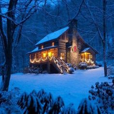 Boone Vacation Rental - VRBO 25581 - 2 BR Blue Ridge Mountains Cabin in NC, Sleepy Creek-Antique Log Cabin on Beautiful Stream Near Boone -- can't wait for the holidays Log Cabin Living, Log Cabin Homes, Log Cabins, Winter Cabin, Cozy Cabin, Winter Snow, Into The Woods, Cabins In The Woods, Rustic Home Design