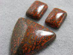 ryan quantz produces more lapidary genius!!!  NEON Orange Gem Dinosaur Bone Cabochon Suite. $218.00, via Etsy.