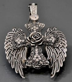 Silver Wings and Cross with Rose Magnetic Pendant