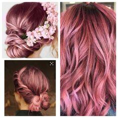 Dusty pink hair color. 😍 Dusty Pink Hair, Hair Color Pink, Hair Colors, Pixie Cut Curly Hair, Pixie Haircuts, Hair 2018, Curled Hairstyles, Hair And Nails, Locks