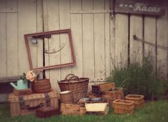 Wooden frame and boxes