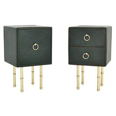 the best.  pair Jacques Adnet mis-matched Side Tables, 40s French