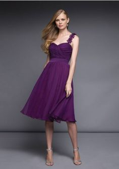 A-line One-shoulder Sweetheart-neck Knee-length Chiffon Bridesmaid Dresses