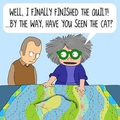 Isn't funny how cats seem to love either watching people sew or enjoy making toys out of sewing notions. Or maybe it's only my cat Lou. Quilting Quotes, Quilting Tips, Machine Quilting, Quilting Designs, Quilting Room, Machine Embroidery, Cat Quilt, Book Quilt, Sewing Crafts