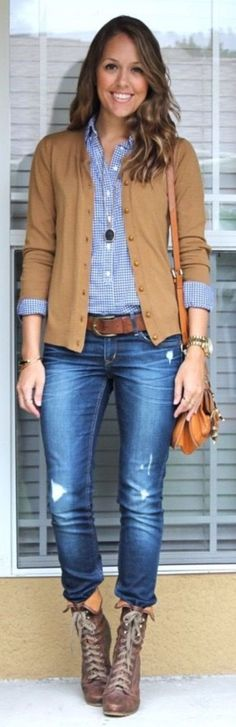Casual and Formal plaid shirt outfits for women0061