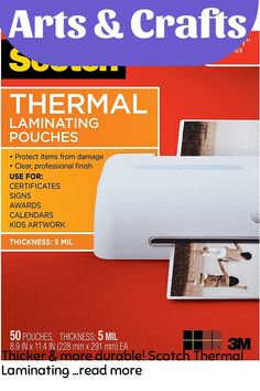 Thicker and more durable! Scotch Thermal Laminating Pouches protect documents you handle frequently. These pouches are 5 mil thick for a sturdy and extra durable finish. For use with Scotch Thermal Laminators. Clear, professional results. Great for signs, schedules, certificates, kids artwork, and more. 50 pouches per pack. … (This is an affiliate link)