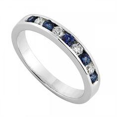 9ct white gold sapphire and 0.22 carat diamond ring