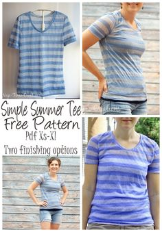 The best DIY projects & DIY ideas and tutorials: sewing, paper craft, DIY. DIY Clothing & Tutorials Women's Short Sleeve T-Shirt Free Pattern PDF pattern xs-xl from Nap-Time Creations -Read T Shirt Sewing Pattern, Sewing Patterns Free, Free Sewing, Sewing Tutorials, Clothing Patterns, Free Pattern, Shirt Patterns, Sewing Projects, Pants Pattern