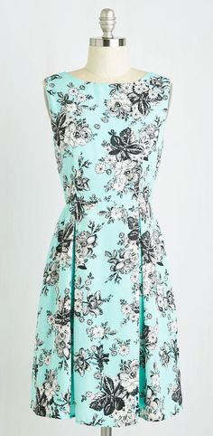 Not sure I like the pattern, but I love the shade of mint and the style of the dress