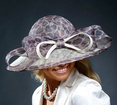 Wide brim animal print hat for Kentucky Derby Royal by MargeIilane