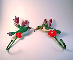 Colorful Hummingbird Coat Hangers by MissPattisAttic on Etsy, $15.95