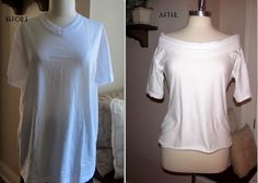 Refashion clothes - Project Restyle 28 White Tee into a boat neck shirt – Refashion clothes T-shirt Refashion, Diy Clothes Refashion, Diy Clothing, Refashioning Clothes, Refashioned Clothing, Recycled Clothing, Diy Clothes Videos, Clothes Crafts, Sewing Clothes