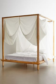 I really like this one so look at it a lot! Wooden Canopy Bed, Canopy Bed Curtains, Canopy Bed Frame, Bed With Canopy, White Canopy, White Bedding, Four Poster Bed Frame, Traditional Bedroom, Traditional Homes