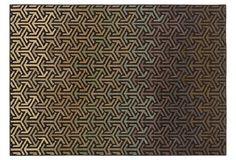 """Cromwell"" Rug, Black Pattern + Multi-Color Gradient"