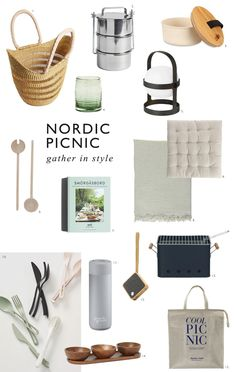 My edit of minimal Nordic summer picnic accessories including handwoven baskets, wooden salad servers, bowls and blankets. Cosy and effortless alfresco dining. Portable Bbq, Scandinavian Food, Nordic Interior, Al Fresco Dining, Summer Picnic, Recycled Glass, Cosy, Bowls, Blankets
