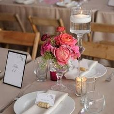 Short Coral and Pink Centerpieces