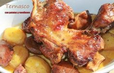 Ternasco con patatas y rovellones Canapes, Tandoori Chicken, Pork, Meat, Ethnic Recipes, Potatoes, Food Allergies, Health Foods, Eating Well