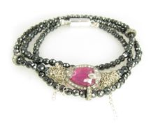 Triple wrap bracelet/necklace with ruby, pavé diamonds & mystic spinel. nanfuso.com