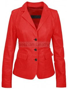 Lissome Womens Red Leather Blazer