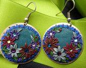 Flower Earrings - Polymer Clay Earrings Appliqued - Cabochon Earrings - Polymer Clay Flowers - Hippie Earrings