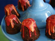 Dinosaur Party: molten lava volcano cakes wantsandwishesdesign.blogspot.com