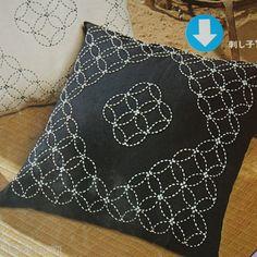 Pillow with sashiko