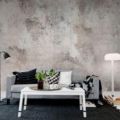 Cette conception de papier peint peint donne à la pièce un aspect de texture patinée. Simple, réaliste et intemporel.