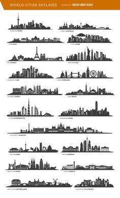 19 famous cities skylines including Paris, London, Sidney and more - Travel Mundo Tattoo, Gravure Laser, City Drawing, Skyline Painting, City Tattoo, Tape Art, Kunst Poster, 3d Laser, City Art