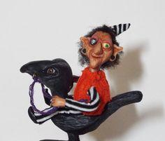 Witch Art Doll Hilda aka Broom Hilda Handmade Folk Art by llacarve
