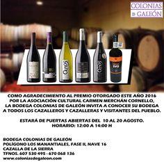 https://www.facebook.com/BodegaColoniasdeGaleonCazalla/photos/a.10152471093763843.1073741826.152329813842/10153974235708843 JORNADA DE PUERTAS ABIERTAS DEL  10 AL 20 AGOSTO.  BODEGA COLONIAS DE GALEÓN facebook.com/BodegaColoniasdeGaleonCazalla www.coloniasdegaleon.com Tfno. 607 530 495 ¡Síguenos también en nuestra Propia Red Social! http://redsocial.globalum.es/grupos/bodega-colonias-de-galeon/  Promocionado por Globalum. Marketing en Redes Sociales facebook.com/globalumspain