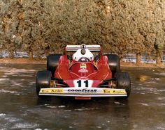 Niki Laudas 312 T2 photographed in the courtyard of the Ferrari factory.