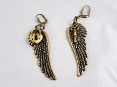 Deb Beechy made these from our brass ox (brox) gossamer wings findings and added the little puffy heart and key.