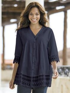 268d2aa88ee Lace-trim Pintuck Tunic - Blouses & Shirts - Tops - New Arrivals -